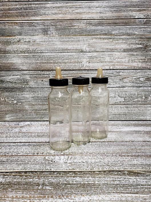 Vintage Evenflo Baby Bottles, Old Fashioned Glass Bottles, Baby Formula Bottle Lids & Nipples, Vintage Glass Milk Bottles, Collectible Glass by AGoGoVintage