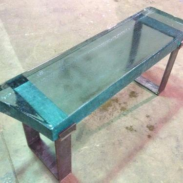Unique Modern Glass Bench with Steel Base by LucasAhlstrand