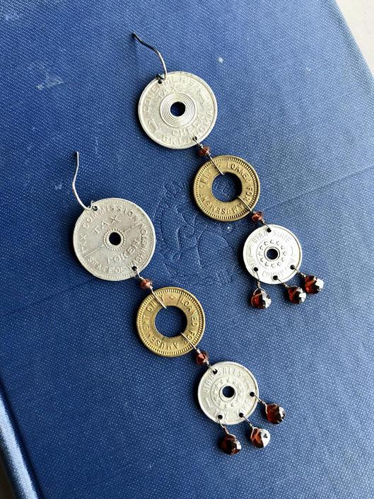 Vintage Token Chandelier Earrings by nonasuch