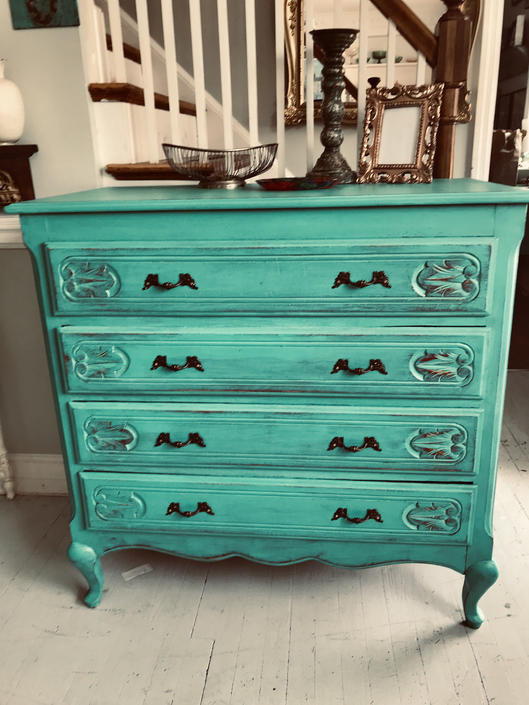 Solid wood rustic beauty turquoise teal/ red dresser chest of drawers by JoyfulHeartReclaimed