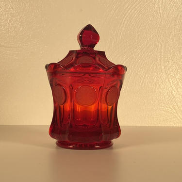 Fostoria Coin Pattern Ruby Red Glass Candy Dish by CoolCatVintagePA
