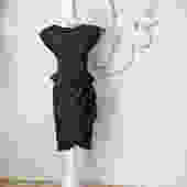 Vintage 1980s Peplum Dress 80s does 40s Little Black Dress Asymmetric Gathered Ruched Side w Shoulder Pads Pencil Skirt Cap Sleeve Size S by elliemayhems