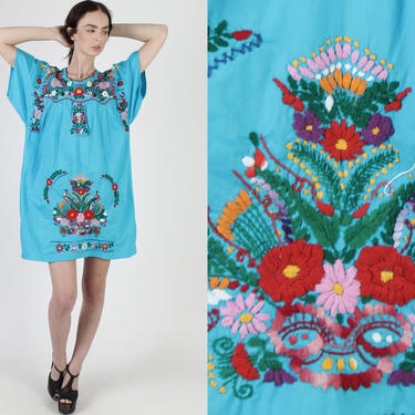 Teal Embroidered Mexican Mini Dress / Vintage 1970s Aqua Mexican Floral Dress / Flutter Sleeve Beach Coverup Womens Embroidery Dress by americanarchive