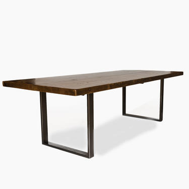 """Urban Wood Goods Solid Wood Dining Room Table made with 2.5"""" thick reclaimed wood and steel U base. Choose size, height, thickness, finish. by UrbanWoodGoods"""