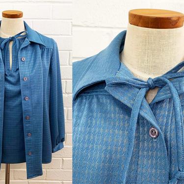 Vintage Marty Gutmacker Mod Shirt & Matching Jacket Set Blue 70s 1970s Summer Sleeveless Blouse Long Sleeve Button Front Shirt Medium Large by CheckEngineVintage