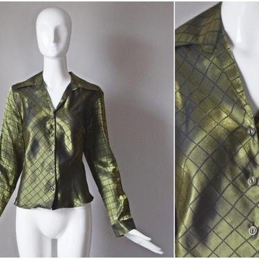 vtg 90s Blue Diamond green iridescent diamond brocade blouse   y2k 1990s button down shirt   size medium   womens M top harlequin by PinkhamRoadRetro