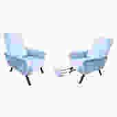 Pair of Reclining Lounge Chairs, Italy, 1960's