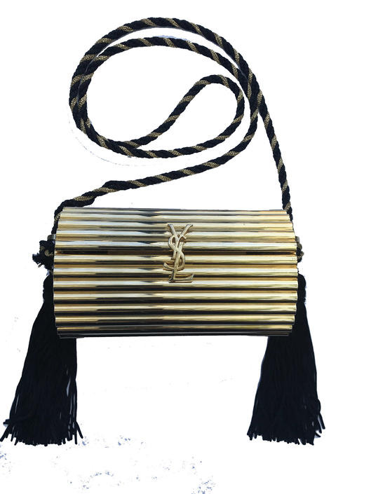 dfb8f41affbc Vintage 1980s Yves Saint Laurent Metal Evening Bag with Tassels ...