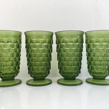 Vintage Iced Tea Glasses Set of Four (4) Indiana Glass Whitehall Pattern Olive Green Avocado Highball Glasses 1960s by CheckEngineVintage