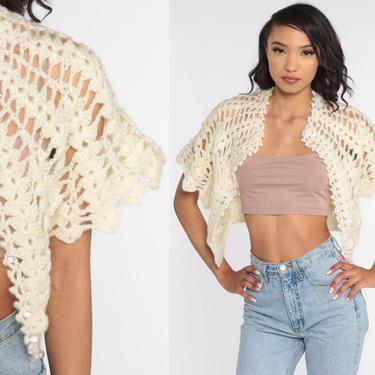Crochet Knit Top 70s Cream Knit Shirt Short Sleeve Cardigan Sweater Cutwork Hippie Boho Cut Out 1970s Vintage Bohemian Hippy Small by ShopExile
