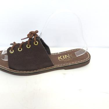 Vintage Deadstock Kino Key West Dark Brown Leather Lace Up Sandals Slides Flip Flops Size 8 by VelvetCastleVintage