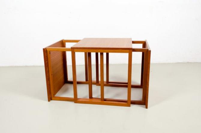 Three (3) Danish Teak MCM 'Cube' Interlocking Tables Kai Kristiansen