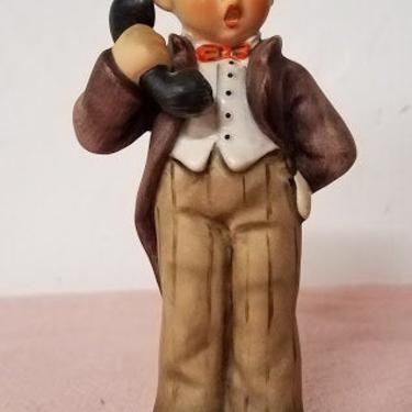 "Vintage Goebel Hummel West Germany ""Hello"" Figurine Boy On Phone by OverTheYearsFinds"