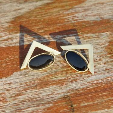 Vintage Gold Plated Sterling Silver Onyx Earrings, Abstract Geometric Stud Earrings, Black Gemstone, Triangular Gold Earrings, 925 by shopGoodsVintage