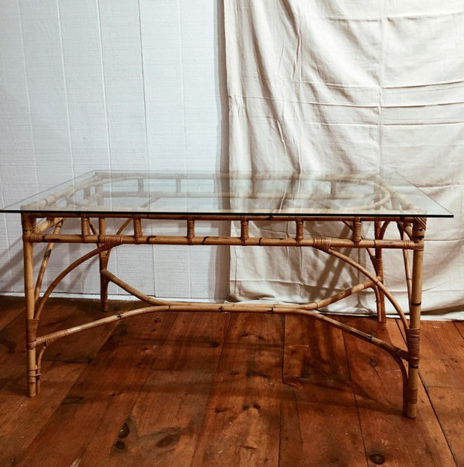 Italian Rattan and Glass Rectangular Dining Table, vintage bamboo table, 1960s Italian Rattan Table, Shipping is not free! by VintageandSwoon