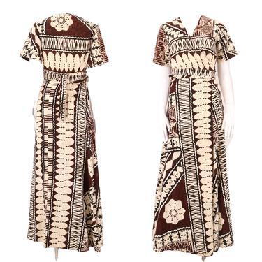 70s Hawaiian wrap dress outfit M / vintage 1970s tropical TIKI floral two piece set wrap around top & wrap skirt by ritualvintage