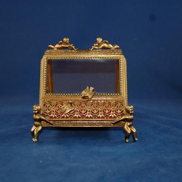 Vtg Cherub Bird Filigree Ormolu Matson Stylebuilt Gold-tone Vanity Jewelry Casket Presentation Box w/ Cherub Feet, Bird Handles, Red Velvet by YesterdayAndTomorrow