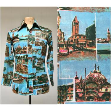 """Vintage 1970s Photo Print Disco Shirt, 70s Scenes of Venice Italy, Long Sleeve Polyester Hipster Shirt, Unisex 38"""" Chest by RanchQueenVintage"""
