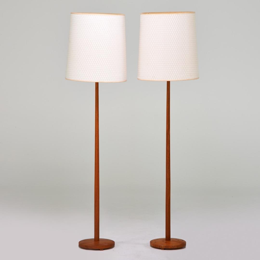 Pair Danish Teak Pole Floor Lamps From Modern Montage ATTIC
