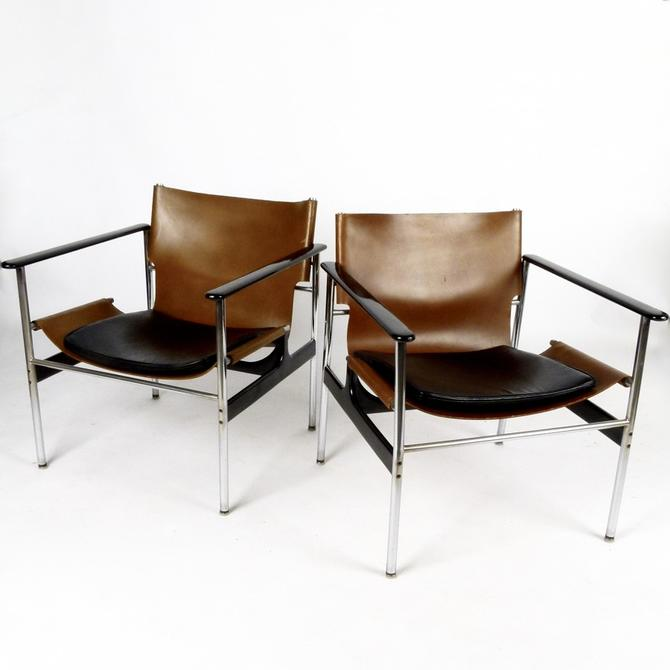 Pair of Charles Pollock 657 Leather Chairs