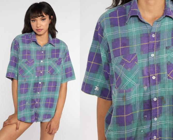 Plaid FLANNEL Shirt Distressed Paint Splatter Button Up 90s Green Checkered Short Sleeve Lumberjack Vintage Purple Large by ShopExile