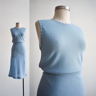 Vintage Blue Knit 2pc Skirt Set by milkandice