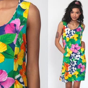 Hawaiian Dress Jams World Dress Sun Dress 90s Mini Floral Tropical Print Sundress Summer Vintage 1990s Sleeveless Sheath Minidress Small by ShopExile
