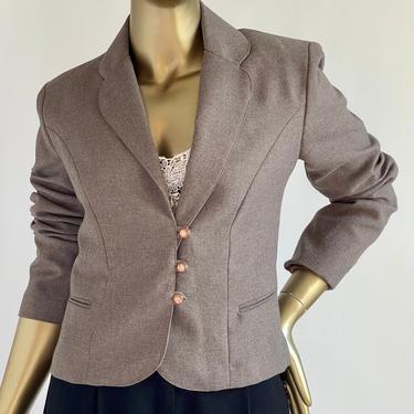 Cropped  Wool Three Button Blazer Jacket fits S - M by BeggarsBanquet