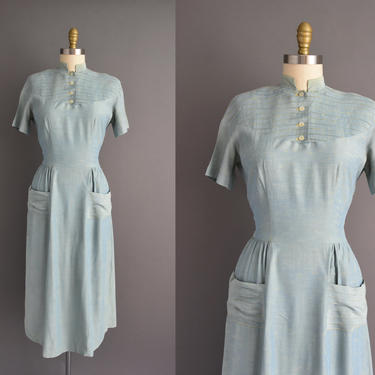 50s dress | Claire Kay short sleeve sea form blue cotton day dress | Small Medium | 1950s vintage dress by simplicityisbliss
