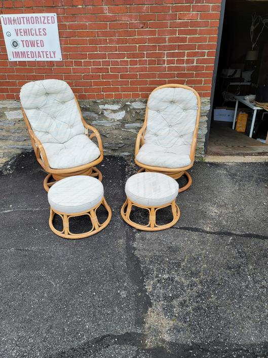 Pair of Boho Mod Swivel Chairs with Ottomans
