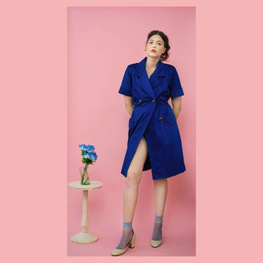 vintage 80s Givenchy Couture royal blue double-breasted jacket dress by FlowerInTheMirror