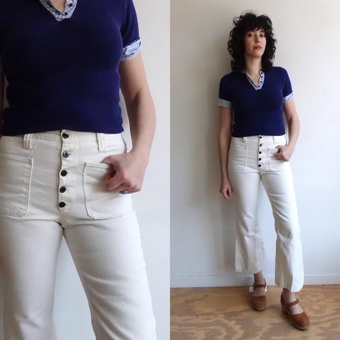 4a824078f7b Vintage 70s Button Fly White Denim  1970s High Waisted Cropped Flare ...