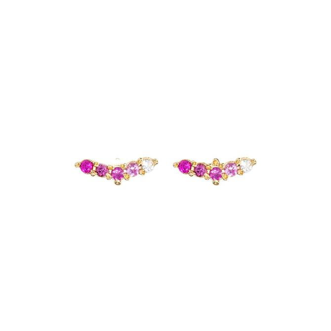 Woosh Studs - Pink Sapphire
