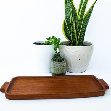 Beautiful Vintage Mid-Century Modern Hand Made Rectangular Wood Tray with handles by PortlandRevibe