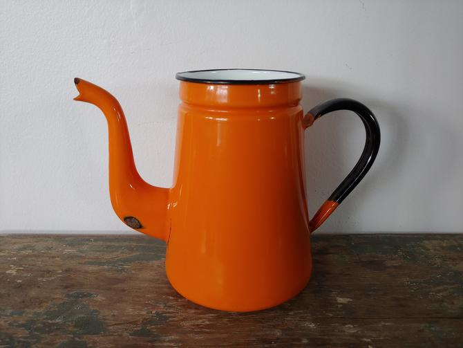 Vintage Orange Enamel Teapot by ModandOzzie