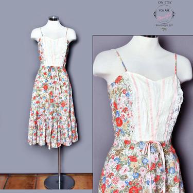 Gunne Sax Praire Dress, 1970's Vintage Boho Hippie Dress, Summer Dress, Sun Dress, Floral Lace Pink Ribbons, Full Skirt Long Dress Betty Lou by Boutique369