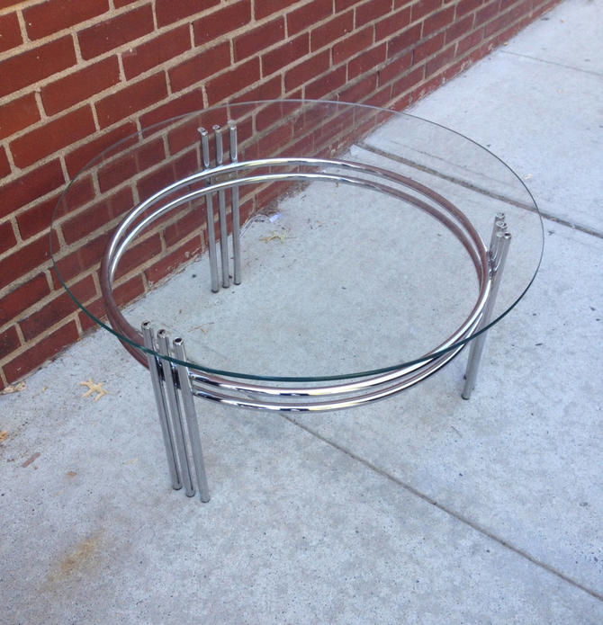 Round Mid Century Modern Glass and Chrome Coffee Table by bcdrygoods