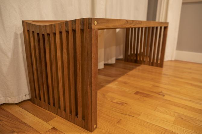 Modern Teak Slat Bench by MathesonWoodwork