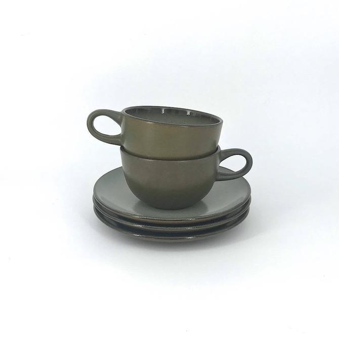 Vintage Heath Ceramics Olive Green and Blue Coffee Mug Saucer Set Mid-Century Edit Sausalito CA Pottery by BrainWashington