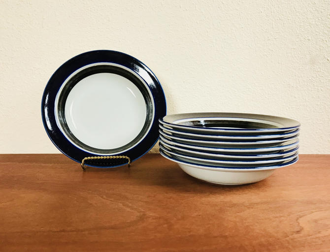 Set of 4 Arabia Finland Saara soup bowls / vintage 1970s Scandinavian dishes / blue, brown and white dinnerware by EarthshipVintage