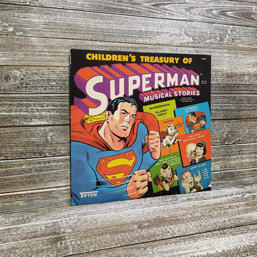 Vintage Childrens Treasury of Superman Musical Stories Record, Superhero Songs LP Album, Tifton Records, 78004, Vintage Vinyl Record by AGoGoVintage