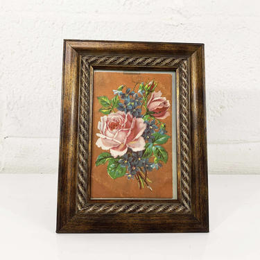 True Vintage Framed Floral Postcard 1940s 40s Rose Print Wooden Brown Frame Lithograph Litho Red White Roses Flowers Antique Victorian by CheckEngineVintage