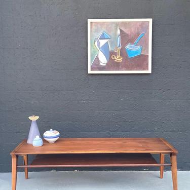 MCM Walnut Coffee Table with Shelf by John Van Koert for Drexel