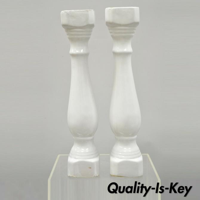 "Pair of Porcelain Ceramic 24"" Column Posts White Architectural Salvage Parts"