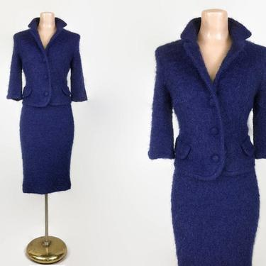 VINTAGE 1960s Navy Blue Mohair Dress Suit  | 1950s  Pencil Skirt and Jacket Set | 60s Jackie O Style Outift | Mitzi Morgan, Neusteters by IntrigueU4Ever