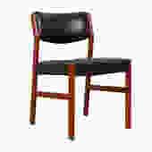 Danish Modern Teak + Black Upholstered Chair