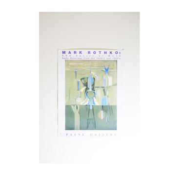 Mark Rothko Original Payne Gallery Exhibition Poster by GoldmineUnlimited