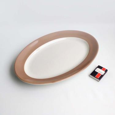 Oval serving plate Jackson china Porcelain holiday serving Taupe trim meat platter Large serving dish by BelleCosine