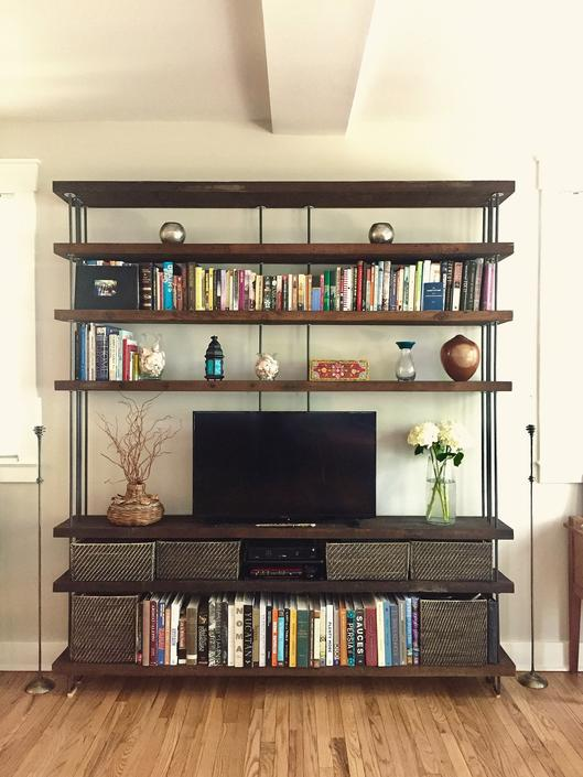 reclaimed shelving from roughsawn old growth wood and recycled steel - bookcase, bookshelf - modern salvage - four to seven (4 to &) shelves by birdloft