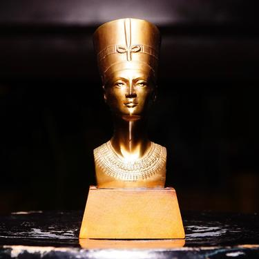 """Vintage Egyptian Nefertiti Lacquered Brass Bust On Wood Base, Miniature Brass Figure Statue, Decorative Egyptian Tabletop Ornament, 5 1/2"""" H by shopGoodsVintage"""